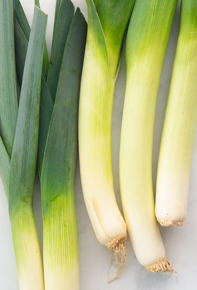 whole raw leeks