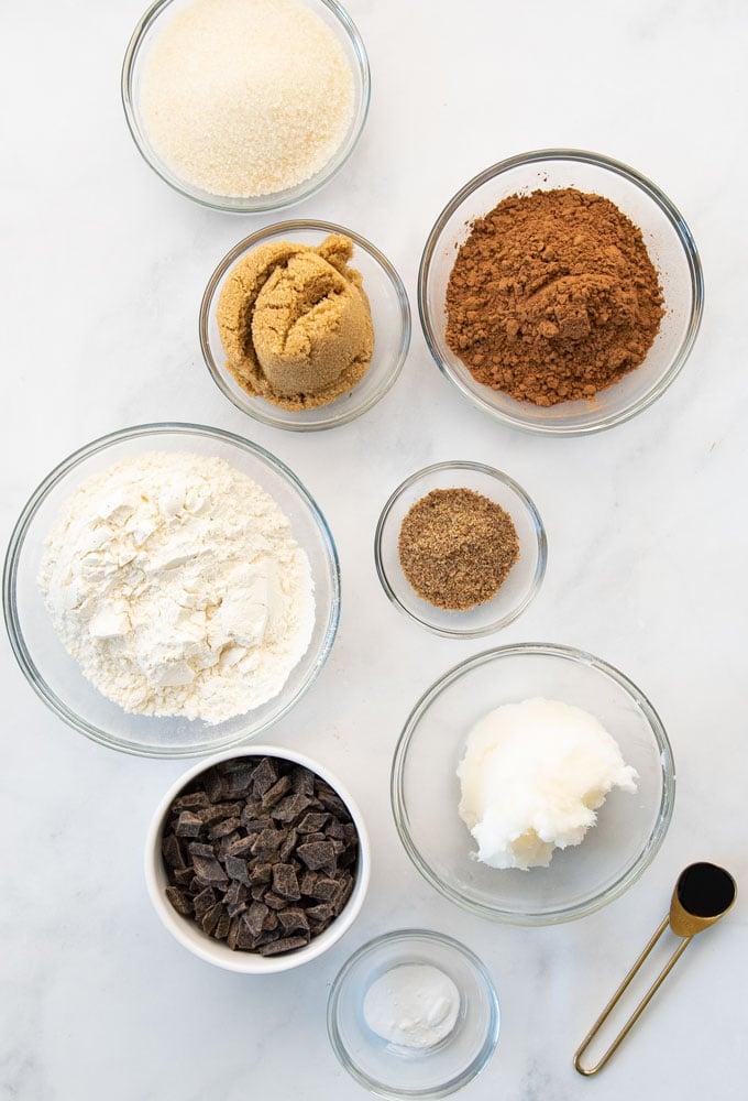 chocolate chunks, sugar, flour, coconut oil, vanilla