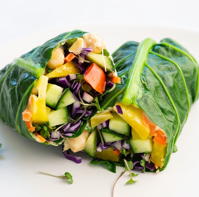 Vegan Chickpea Collard Green Wraps