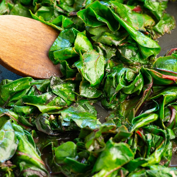chard cooked with garlic