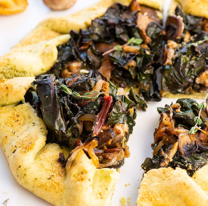Vegan Swiss Chard and Wild Mushroom Galette