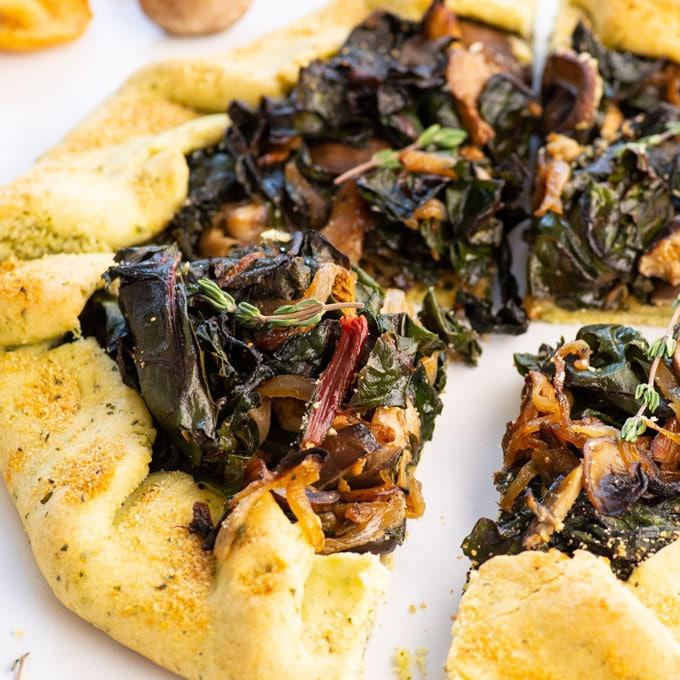 vegan swiss chard and wild mushroom galette