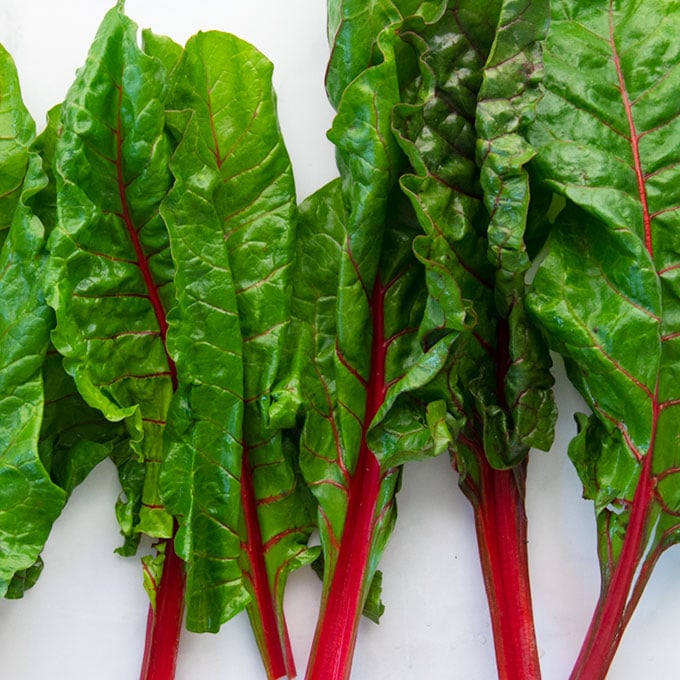 raw swiss chard leaves