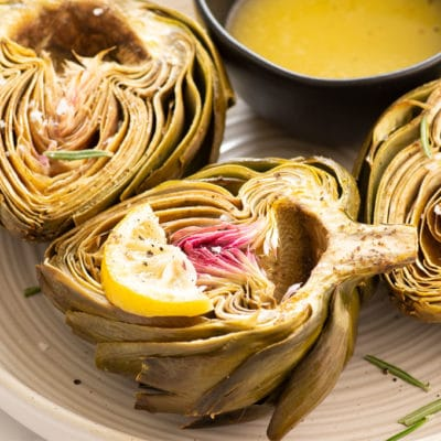 Roasted Artichokes with Vegan Garlic Butter
