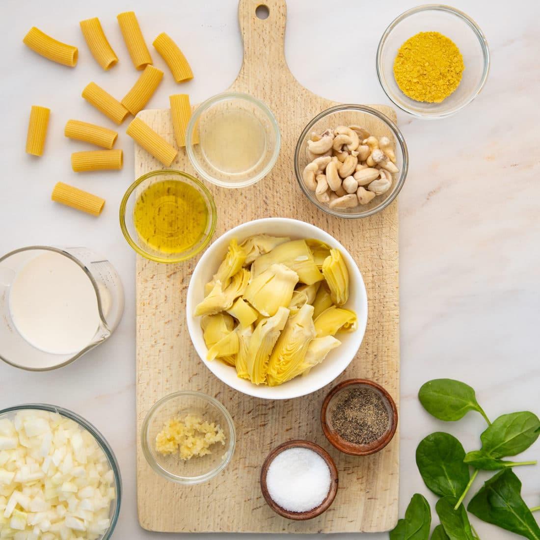 artichoke, cashews, nutritional yeast, almond milk, noodles, butter, spices