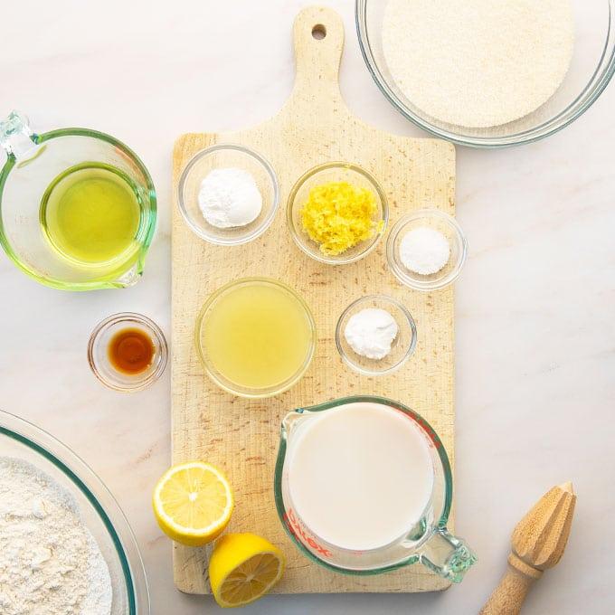 ingredients for vegan lemon cake