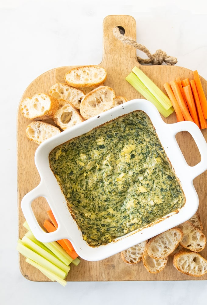 baked artichoke and spinach dip with dippables