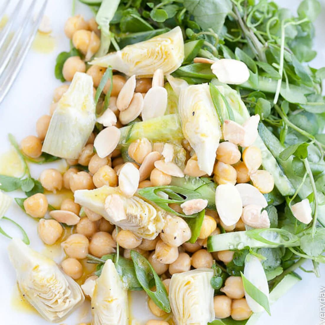 artichoke salad with watercress and almonds