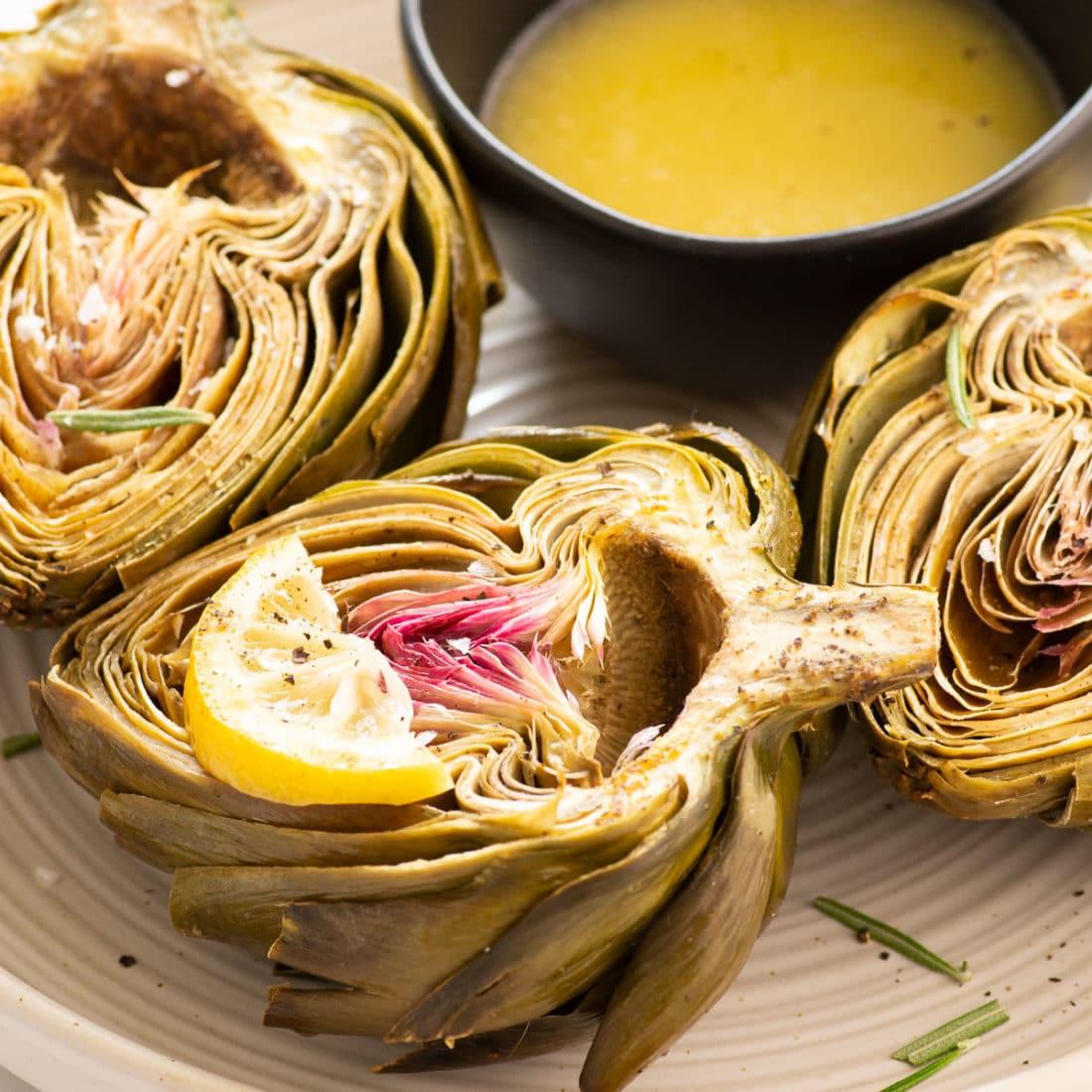 roasted artichokes on plate