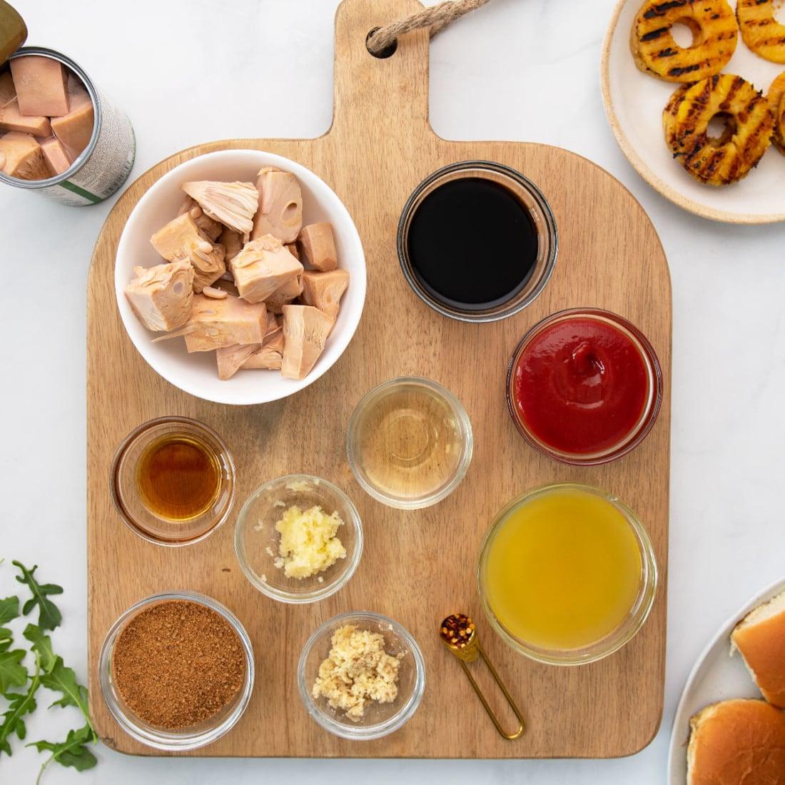 ingredients on a wooden board