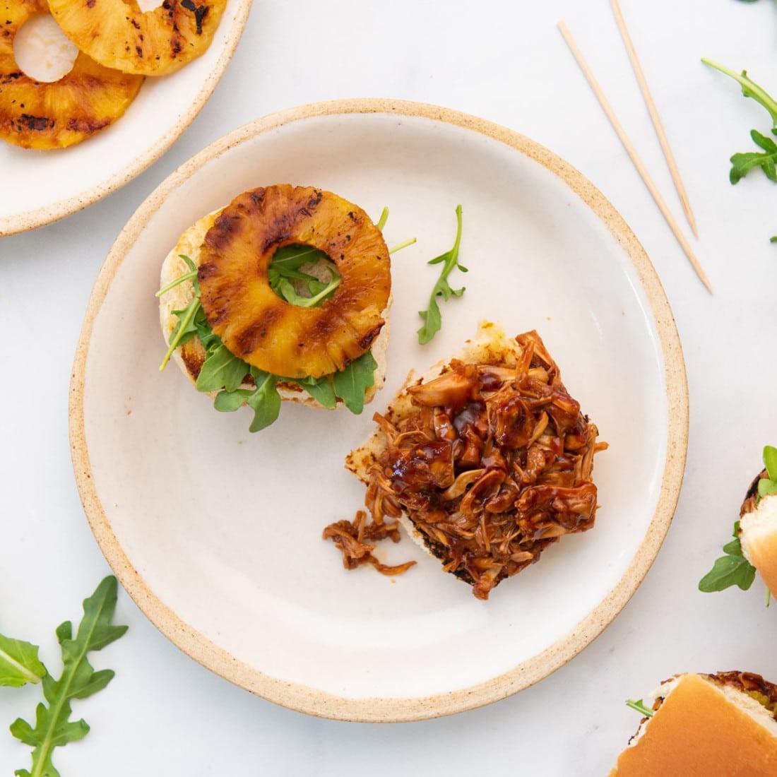 Pineapple Teriyaki Jackfruit Sliders open face on a plate