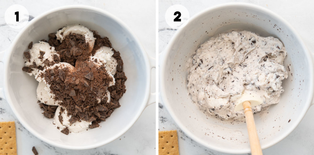 steps for how to make the soy ice cream and chocolate filling