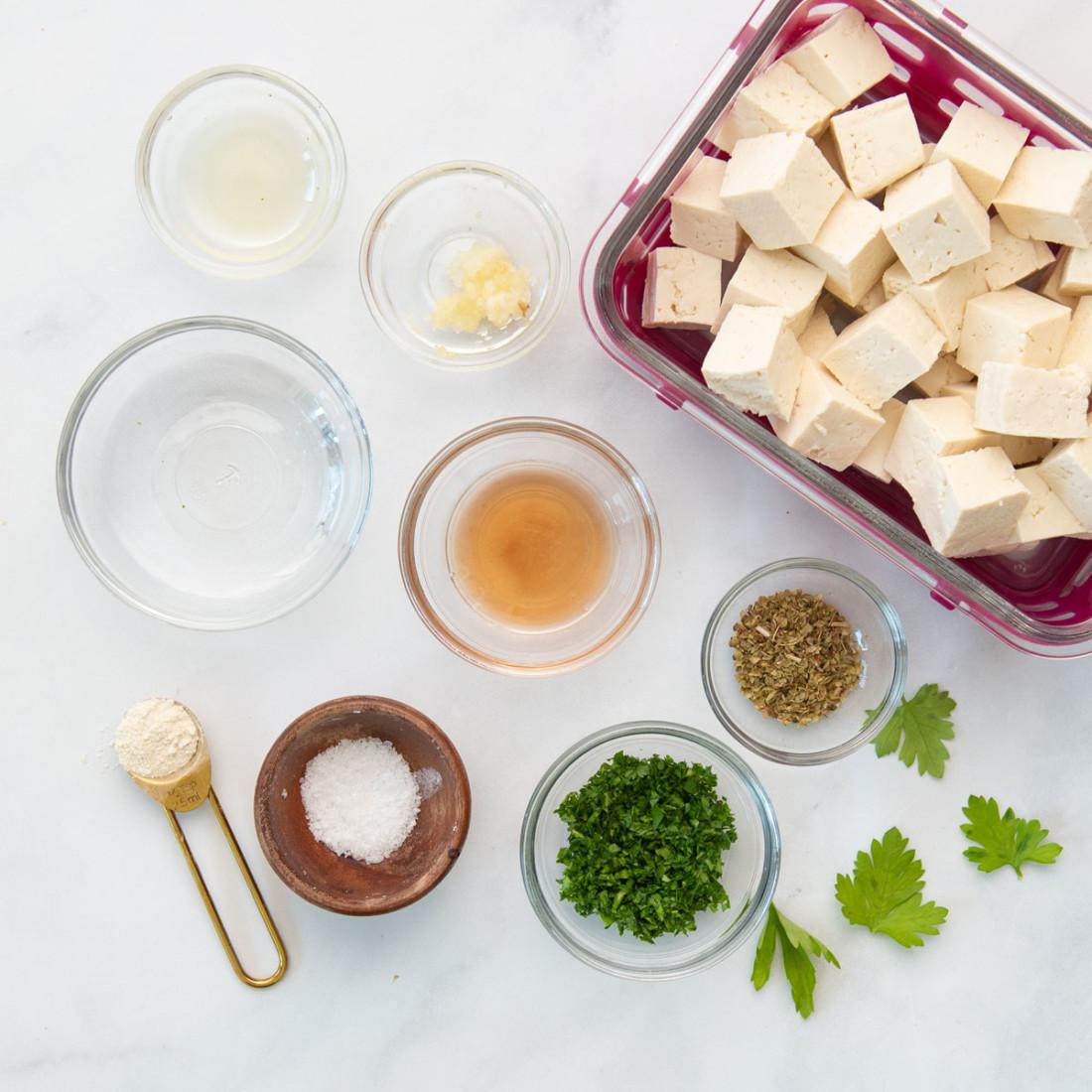 tofu, spices, seasonings, red wine vinegar
