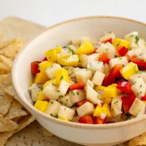 bowl of jicama mango salsa