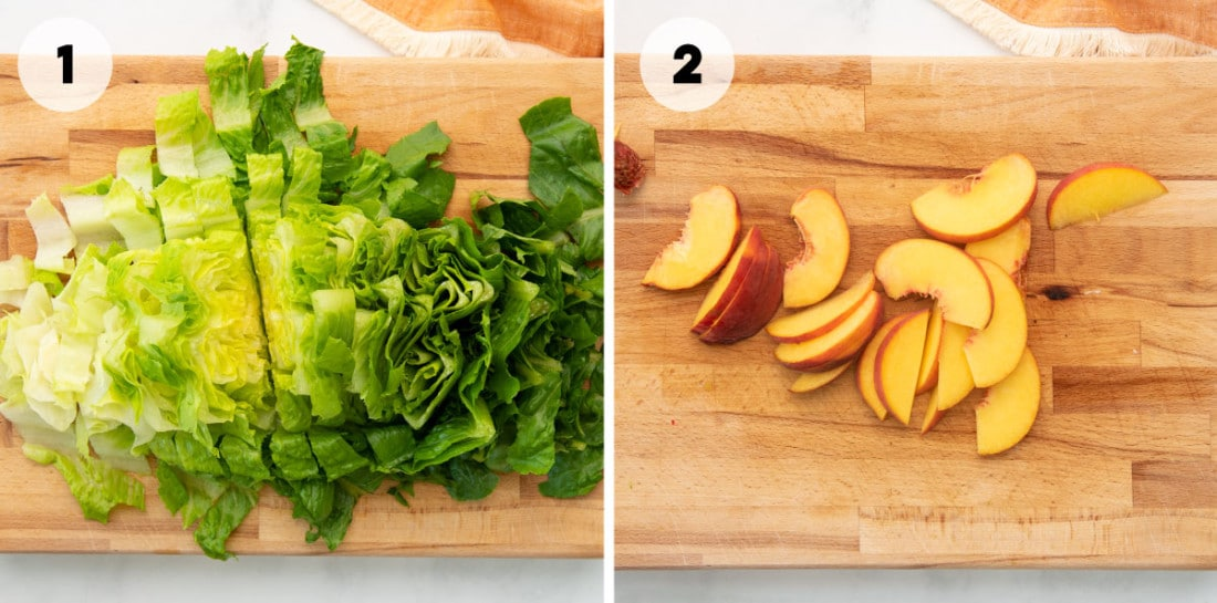 romaine lettuce and peaches on cutting board