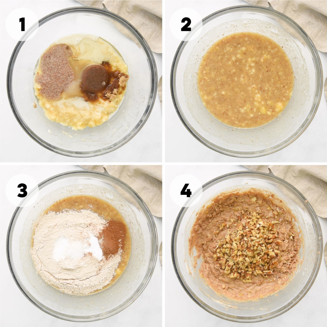 four steps for how to make the muffin batter