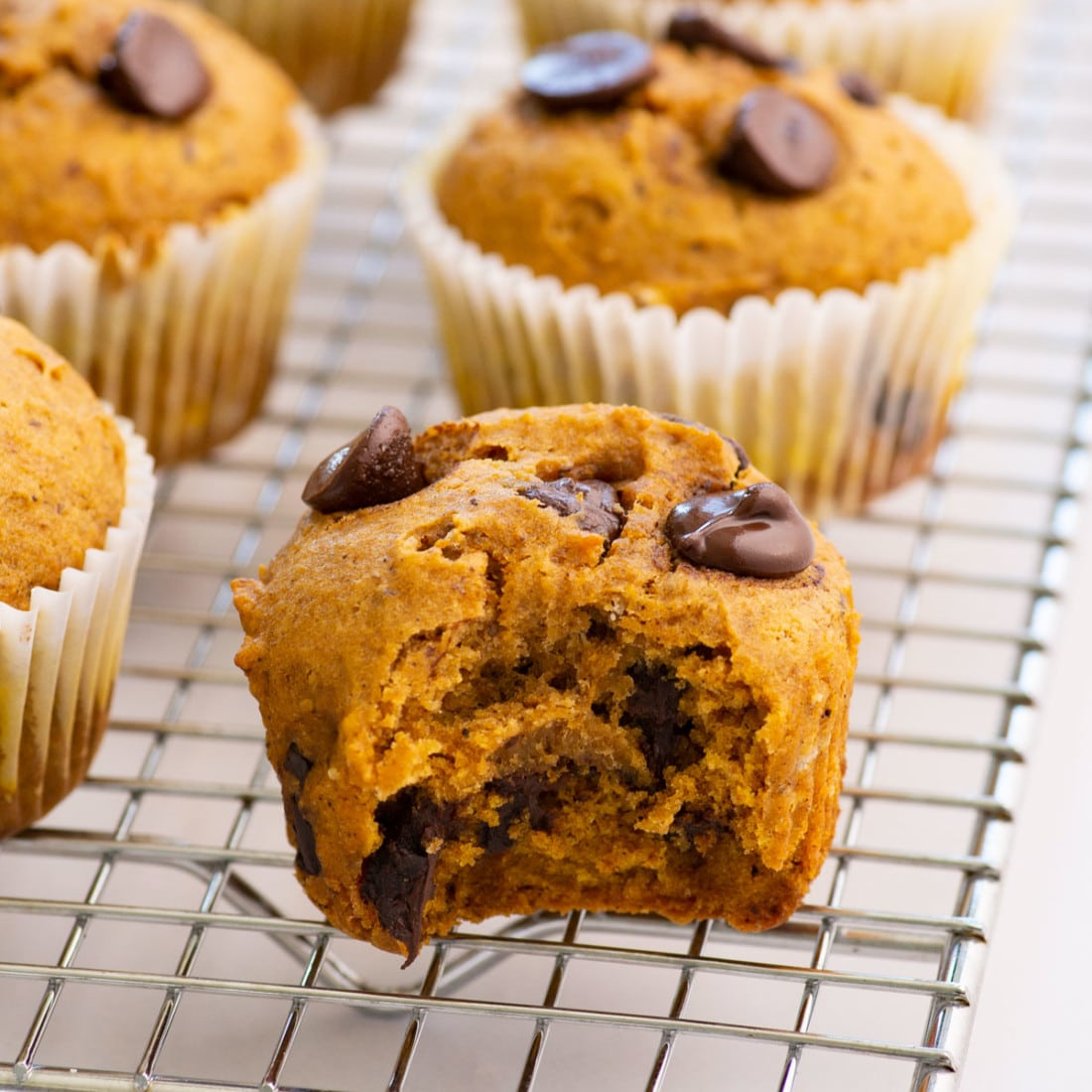 vegan pumpkin muffins on a wire rack with a bite taken from the side