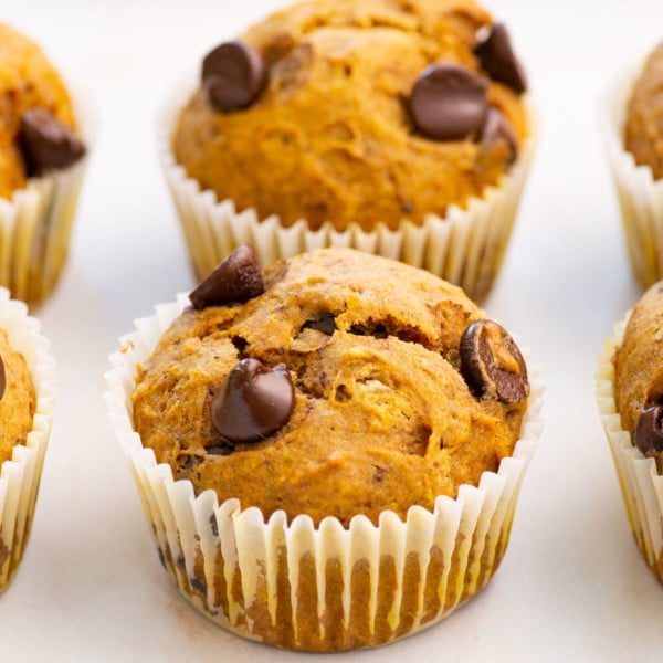close up view of vegan pumpkin muffins with chocolate chips