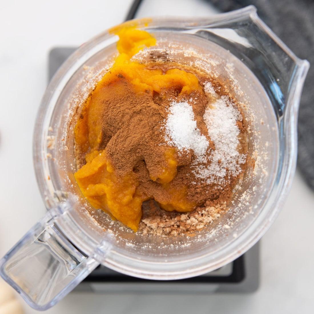 ingredients for pumpkin almond butter in blender