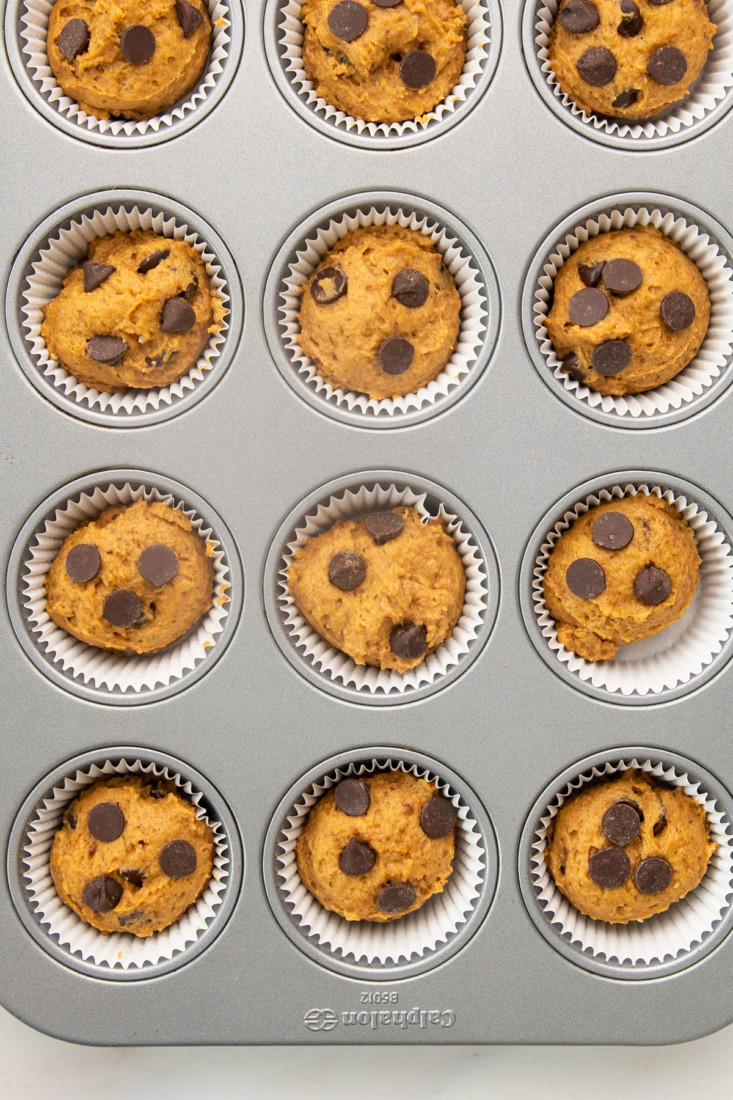 overhead view muffin pan with unbaked batter and chocolate chips